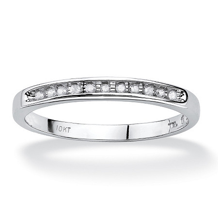 1/10 TCW Diamond 10k White Gold Anniversary Band
