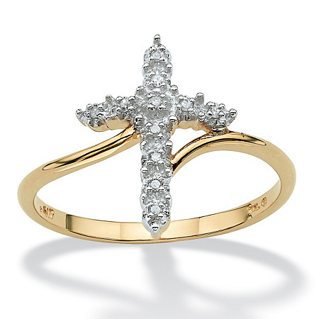 Round 10k Gold Diamond Accent Cross Ring