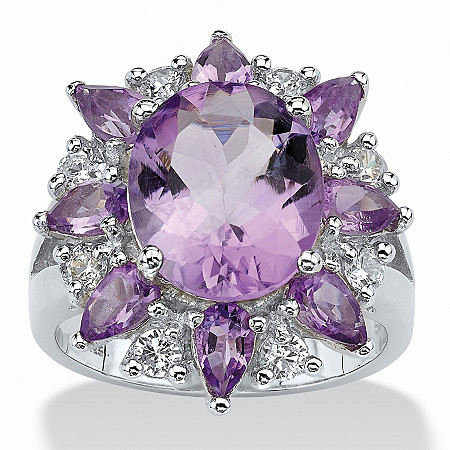 6.70 TCW Oval Cut Purple Genuine Amethyst White Genuine Amethyst Accent Sterling Silver Ring