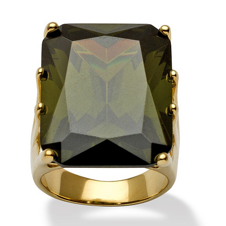 35.40-Carat Octagon-Cut Olivine Cubic Zirconia 18k Yellow Gold over Sterling Silver Ring