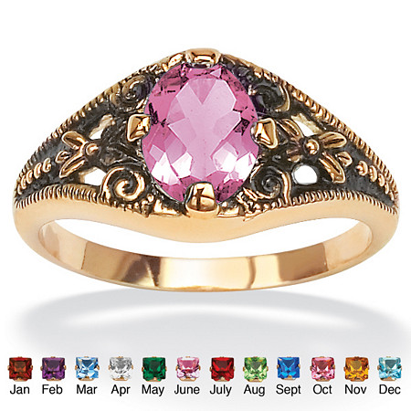 Oval-Cut Simulated Birthstone 14k Yellow Gold-Plated Antique-Finish Ring