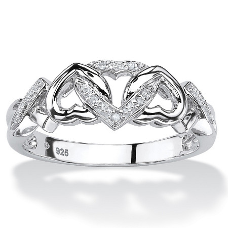 Diamond Accent Platinum over Sterling Silver Interlocking Hearts Promise Ring