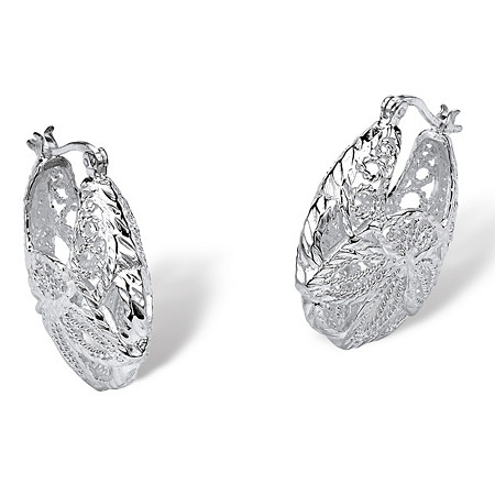 Sterling Silver Filigree Leaf Hoop Earrings