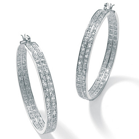 4.50 TCW Round Cubic Zirconia Silvertone 2-Row Hoop Earrings