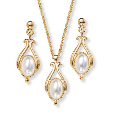 Oval Simulated Pearl Drop Pendant Necklace and Earrings Set in Yellow Gold Tone