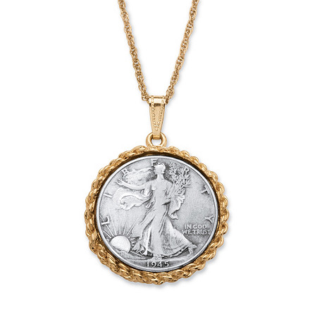 Genuine Half Dollar  Pendant with Rope Chain in Yellow Gold Tone 24