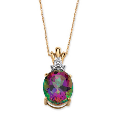 6-Carat Oval-Cut Genuine Mystic Fire Topaz 10k Yellow Gold Solitaire Pendant and Chain 18