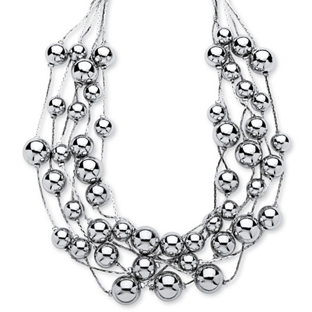 Silvertone Beaded Collar Necklace Adjustable 17 to 20