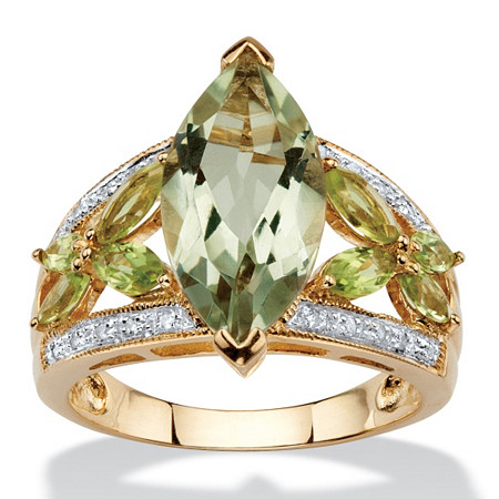4.73 TCW Marquise-Cut Genuine Green Amethyst and Peridot 10k Gold Ring