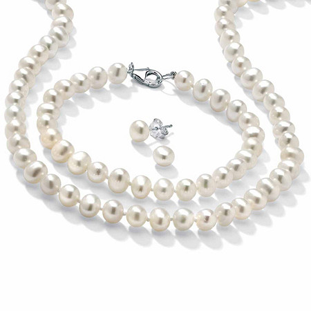Cultured Freshwater Pearl Sterling Silver 18 Necklace Bracelet and Stud Earrings Set