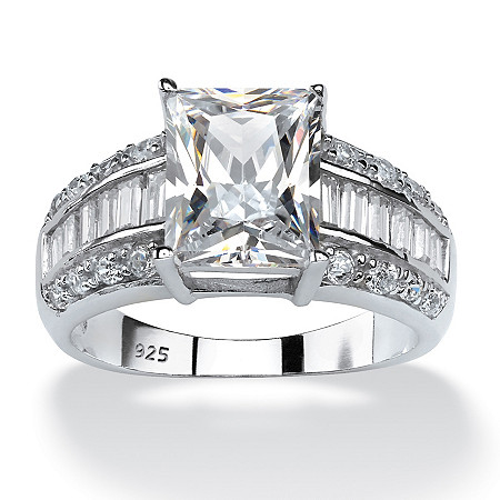 4.94 TCW Emerald-Cut Cubic Zirconia Ring in Platinum over Sterling Silver