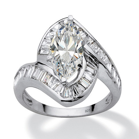 4.93 TCW Marquise-Cut Cubic Zirconia Platinum Over Sterling Silver Channel-Set Ring