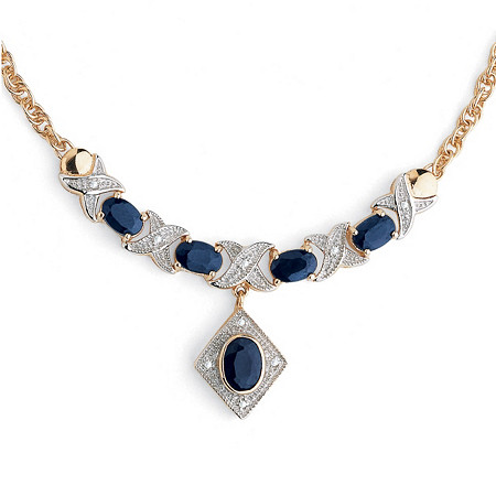 3.40 TCW Oval-Cut Genuine Midnight Blue Sapphire 18k Gold Over Sterling Silver Necklace