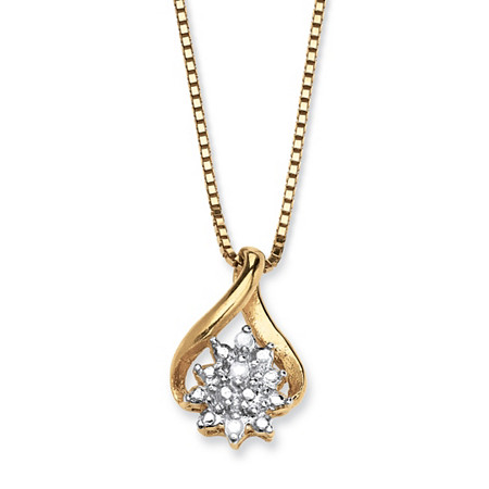 Diamond Accented Cluster Pendant Necklace in 18k Yellow Gold over Sterling Silver 18