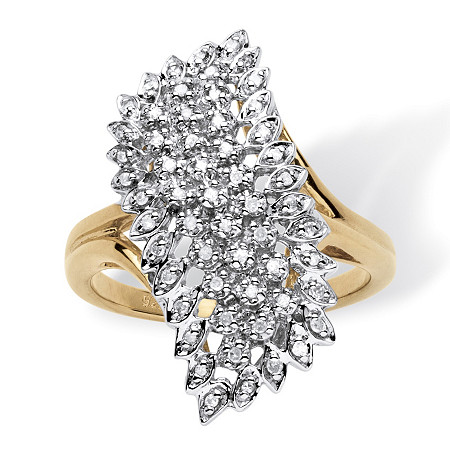 1/7 TCW Round Diamond Pave 18k Yellow Gold over Sterling Silver Cluster Ring