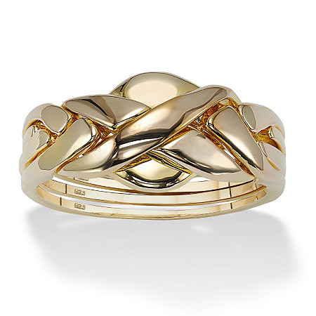 18k Gold over Sterling Silver Puzzle Ring