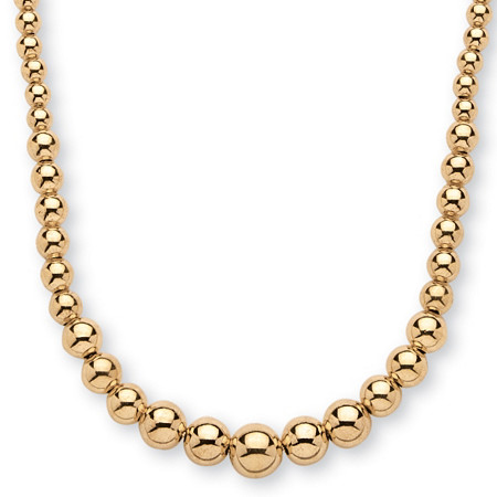 18k Gold over Sterling Silver Graduated Bead Necklace 17