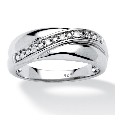 Men's 1/10 TCW Round Diamond Wedding Band in Platinum over Sterling Silver