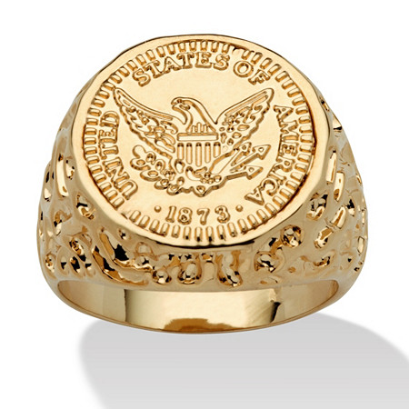 Men's 14k Yellow Gold-Plated American Eagle Coin Ring