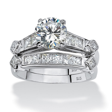 3.14 TCW Round Cubic Zirconia Platinum Over Sterling Silver 2-Piece Bridal Engagement Set