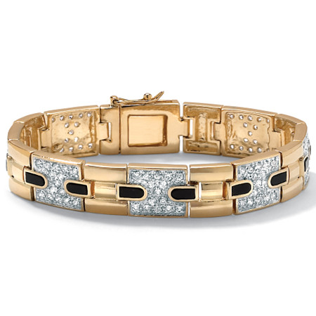 Men's 2.52 TCW Genuine Onyx Cubic Zirconia 14k Yellow Gold-Plated Bar-Link Bracelet 8