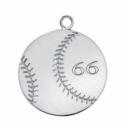 Sterling Silver Personalized Baseball Charm Pendant
