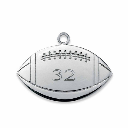 Sterling Silver Personalized Football Charm Pendant