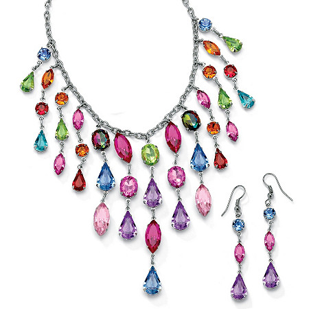 Multi-Colored Crystal Silvertone Antique-Finish Bib Necklace and Earrings Set