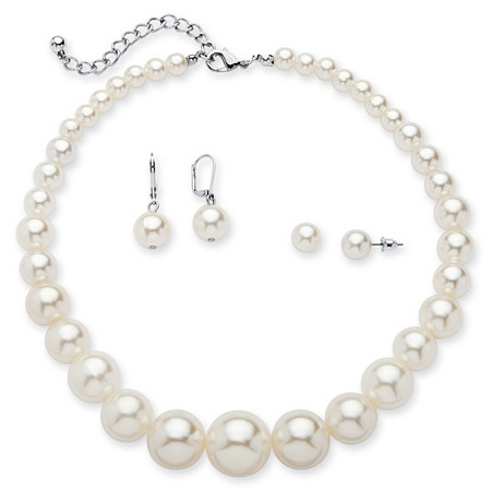 Simulated Pearl Silvertone 3-Piece Set Graduated Necklace and 2-Pairs Earrings