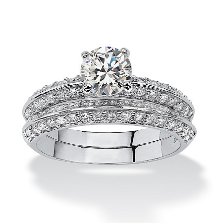 2 Piece 2.10 TCW Round Cubic Zirconia Bridal Ring Set in Platinum over Sterling Silver