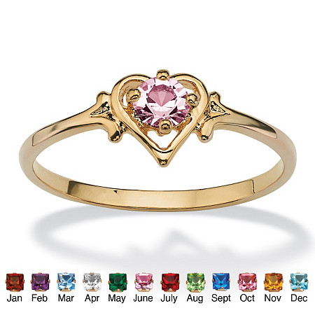 Oval-Cut Simulated Birthstone 14k Yellow Gold-Plated Heart-Shaped Ring