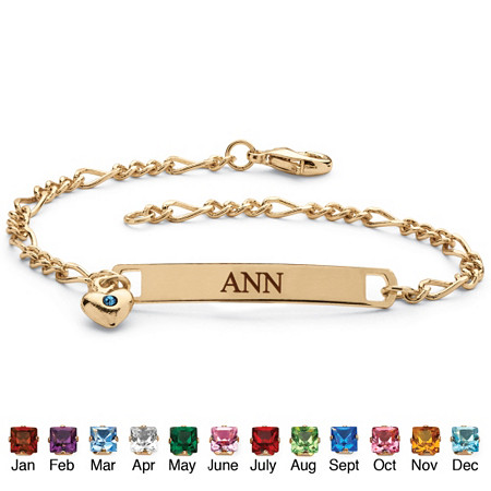 Simulated Birthstone Personalized I.D. Name Bracelet With Heart Charm in Yellow Gold Tone 7 1/4