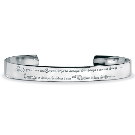 Stainless Steel Inspirational Serenity Prayer Cuff Bracelet 7 1/2