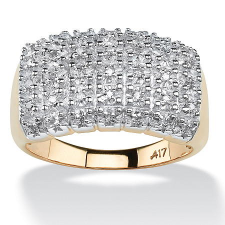 1/5 TCW Round Diamond 10k Yellow Gold Pave Cluster Ring