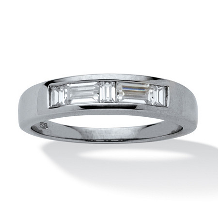 Men's .98 TCW Baguette-Cut Cubic Zirconia Platinum Over Sterling Silver Contemporary Wedding Band