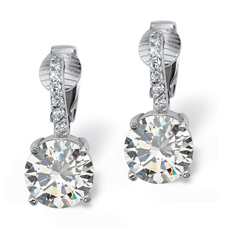 6.18 TCW Round Cubic Zirconia Platinum over Sterling Silver Clip-On Drop Earrings