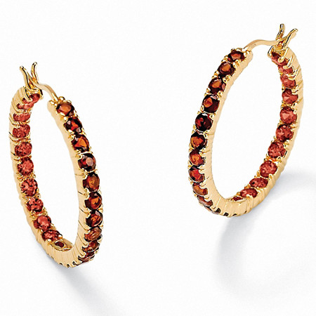 6.24 TCW Round Genuine Garnet 18k Yellow Gold over Sterling Silver Hoop Earrings