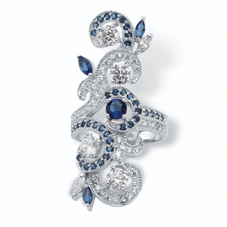 1.68 TCW Round Cubic Zirconia and Marquise-Cut Blue Crystal Accents Sterling Silver Swirl Ring