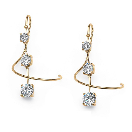3.30 TCW CZ Spiral Drop Earrings in 18k Gold over Sterling Silver