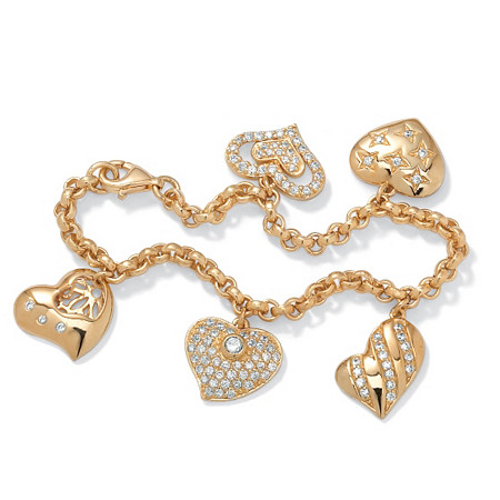 1.48 TCW Cubic Zirconia Heart Charm Bracelet in Yellow Gold Tone