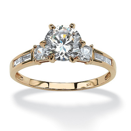 2.14 TCW Round Cubic Zirconia 10k Yellow Gold Ring
