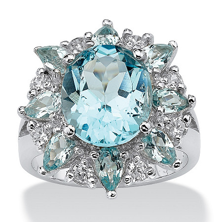 8.60 TCW Oval Cut Blue Genuine Topaz White Genuine Topaz Accent Sterling Silver Ring