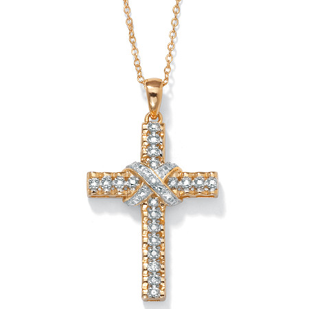 Diamond Accent 18k Gold over Sterling Silver Religious Cross Pendant and Cable Chain 18