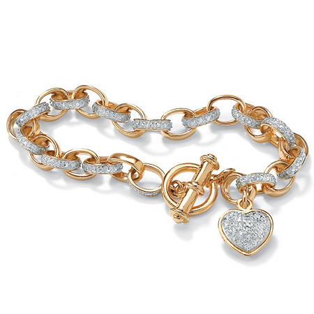Diamond Accent 18k Yellow Gold Over Sterling Silver Oval-Link Heart Charm Bracelet 7 1/4