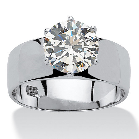 4-Carat Round Cubic Zirconia Sterling Silver Solitaire Bridal Engagement Ring