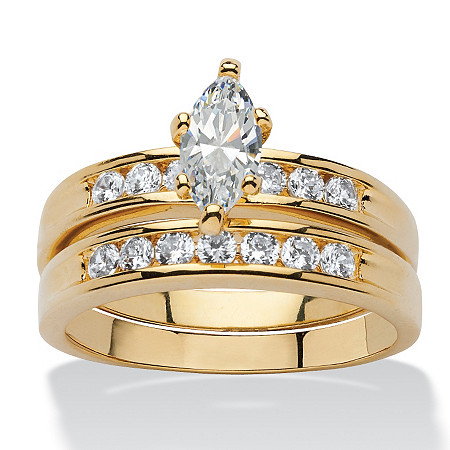 2 Piece 1.78 TCW Marquise-Cut Cubic Zirconia Bridal Ring Set Set 14k Gold-Plated