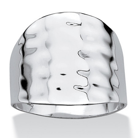 Sterling Silver Hammered-Style Cigar Ring