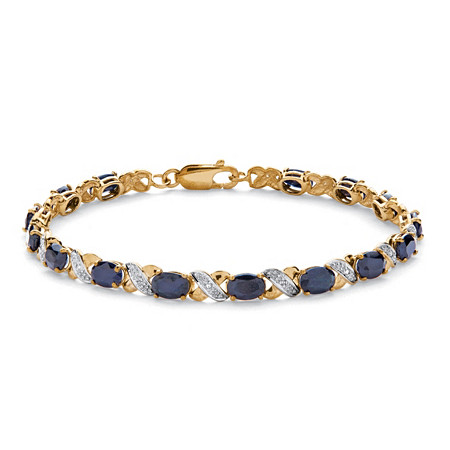 8.40 TCW Oval-Cut Genuine Blue Sapphire 10k Yellow Gold X & O Tennis Bracelet 7 1/2
