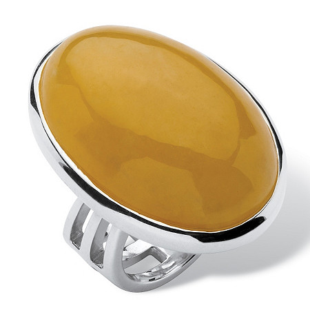 Oval-Shaped Cabochon Yellow Jade Sterling Silver Cocktail Ring