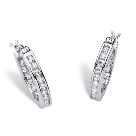 1.25 TCW Round Cubic Zirconia Platinum over Sterling Silver Channel-Set Hoop Earrings